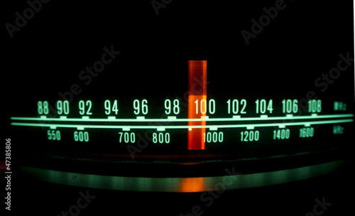 canvas print picture radio dial with lights