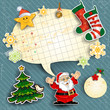 Santa claus cartoon ornaments and Christmas stockings