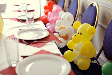 the banquet table sat colored inflatable Bears