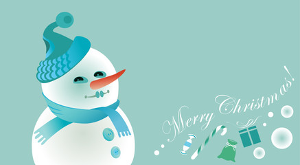 Christmas greeting card with snowman and gifts.