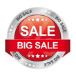 big sale red silver button white background