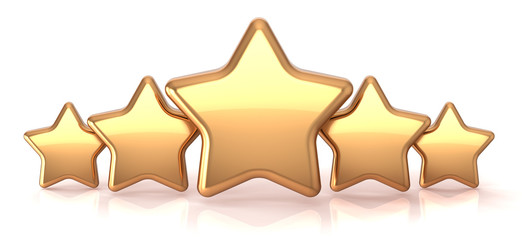 Gold stars five golden star service award business success