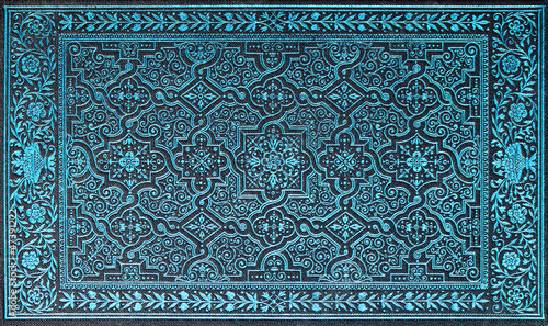 book cover with blue pattern