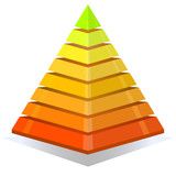 Colorful pyramid design element isolated on white