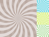 Abstract twisted rays vector background in 4 colors.
