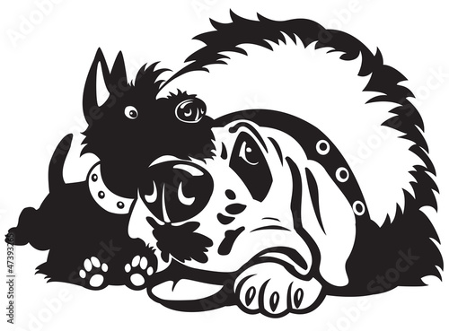 cartoon dogs black white