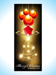 abstract christmas banner with christmas tree