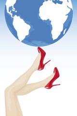 Female legs in high heels holding the world