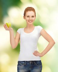 teenage girl with green apple