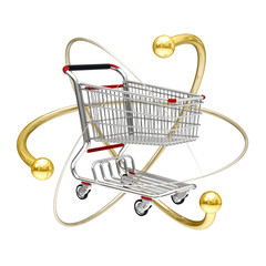 3d Atomic power of online shopping cart icon