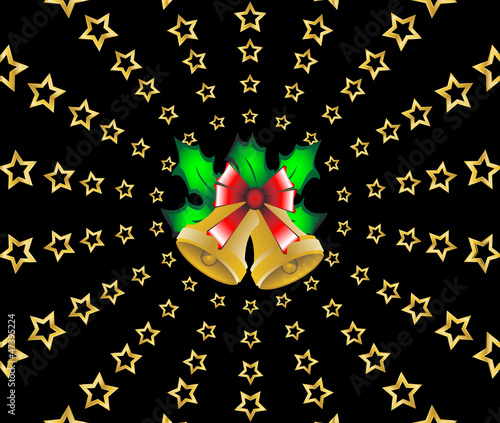 Christmas shooting stars holly berries background