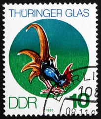 Postage stamp GDR 1983 Cock, Thuringian Glass