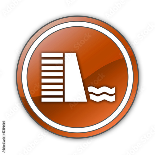 "Orange Glossy Button ""Dam"""