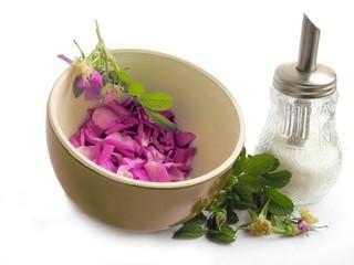 petals of edible rose and sugar for fragrant jam