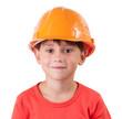Sweet girl in a building helmet