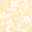 Vector yellow and white silhouettes flowers elegant seamless
