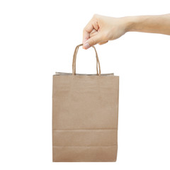 Hand With Paper Shopping Bag Isolated On White