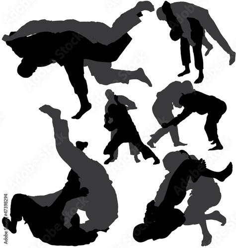 Zdjęcia na płótnie, fototapety, obrazy : Jiu-jitsu (jujitsu) and judo wrestlers vector silhouettes