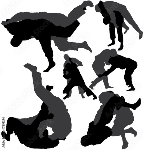 Jiu-jitsu (jujitsu) and judo wrestlers vector silhouettes - 47398294