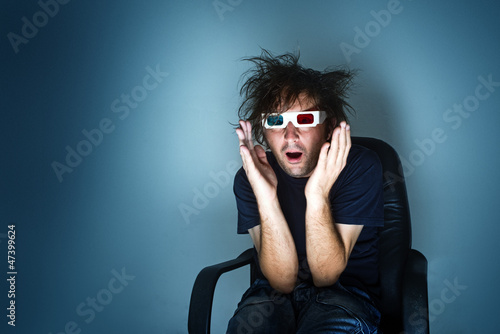 Scared man with 3d glasses