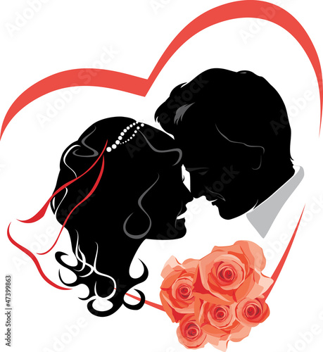 Newlyweds with bouquet of roses. Wedding icon