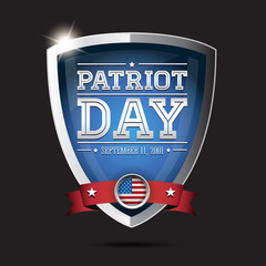 American flag words patriot day september 11, 2001 on shield