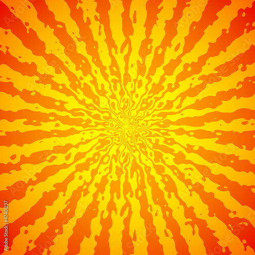 Yellow sunburst on orange vector image