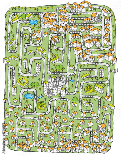 Fridge magnet Urban Landscape Maze Game