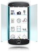 Abstract Smartphone with 3D icon objects.Frosted Glass.Isolated.
