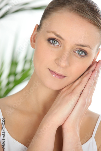 Closeup of a young woman at a spa