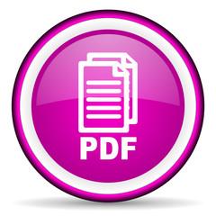 pdf violet glossy icon on white background
