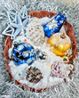 Snow pine cones, blue bell and christmas decorations