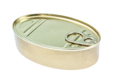 Closed fish canning pot. Close-up on a white background.