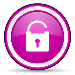 padlock violet glossy icon on white background