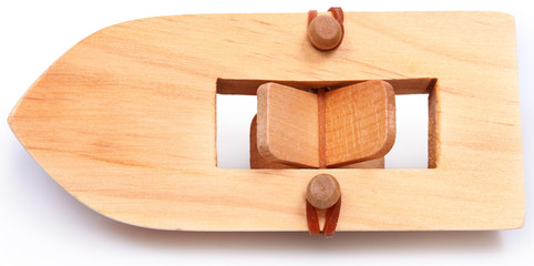 Wooden Rubberband Powered Paddleboat Over White