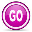 go violet glossy icon on white background