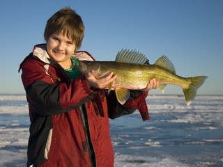 Boy with Large Walleye
