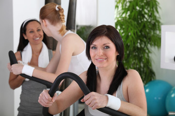 young women doing fitness