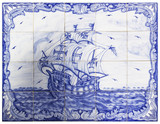 ancient portuguese tiles with a ship - 47404426