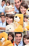 Montage of couple with cuddly toys