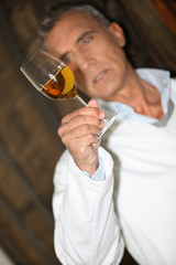 wine expert making tests in a cellar