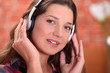 Brunette with headphones