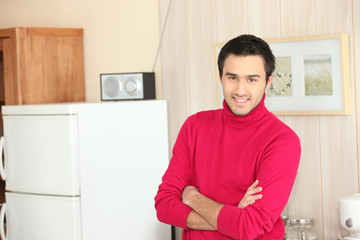 Young man at home