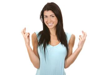 woman finger crossed