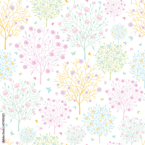 Vector blossoming trees seamless pattern background with floral