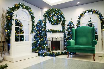 Christmas tree and Santa's chair