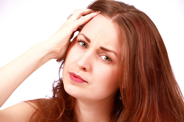 Stressed woman with headache expression