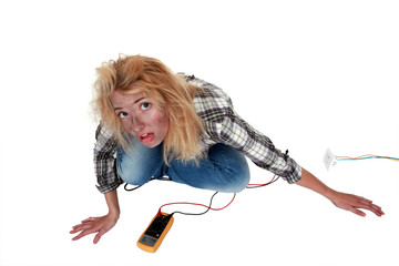 Woman having had an electric shock