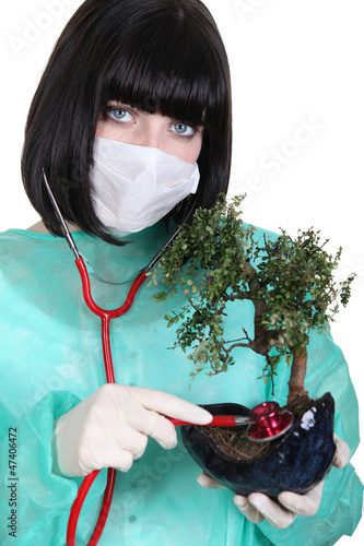 Female surgeon checking the health of a bonsai