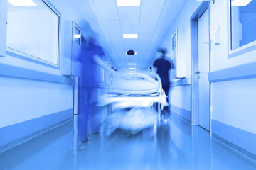 Bed in a modern clinic corridor